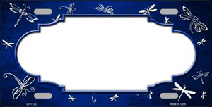 Blue White Dragonfly Scallop Print Oil Rubbed Wholesale Metal Novelty License Plate