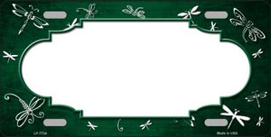 Green White Dragonfly Scallop Print Oil Rubbed Wholesale Metal Novelty License Plate