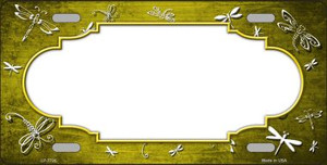 Yellow White Dragonfly Scallop Print Oil Rubbed Wholesale Metal Novelty License Plate