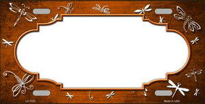 Orange White Dragonfly Scallop Print Oil Rubbed Wholesale Metal Novelty License Plate