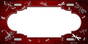 Red White Dragonfly Scallop Print Oil Rubbed Wholesale Metal Novelty License Plate