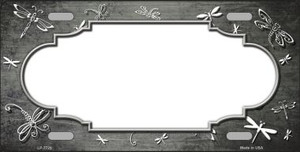 Gray White Dragonfly Scallop Print Oil Rubbed Wholesale Metal Novelty License Plate