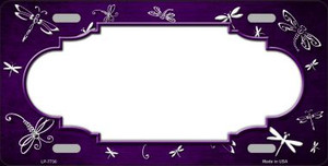 Purple White Dragonfly Scallop Print Oil Rubbed Wholesale Metal Novelty License Plate