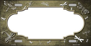 Tan White Dragonfly Scallop Print Oil Rubbed Wholesale Metal Novelty License Plate