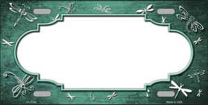 Mint White Dragonfly Scallop Print Oil Rubbed Wholesale Metal Novelty License Plate LP-7736
