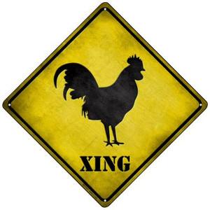 Rooster Xing Wholesale Novelty Mini Metal Crossing Sign MCX-037