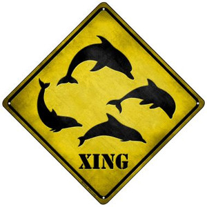Dolphins Xing Wholesale Novelty Mini Metal Crossing Sign MCX-041