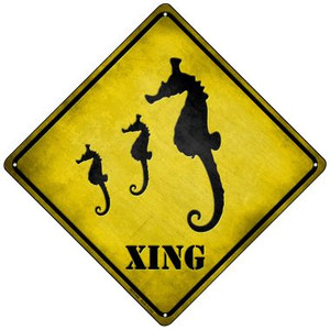 Seahorse Xing Wholesale Novelty Mini Metal Crossing Sign MCX-046