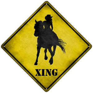 Cowgirl Xing Wholesale Novelty Mini Metal Crossing Sign MCX-066