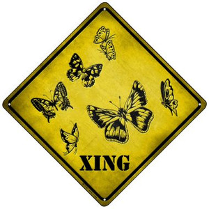 Butterflies Xing Wholesale Novelty Mini Metal Crossing Sign MCX-067