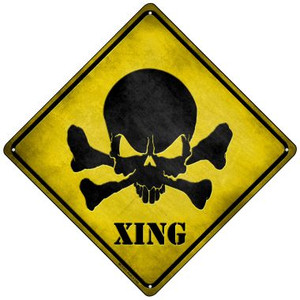 Skull Xing Wholesale Novelty Mini Metal Crossing Sign MCX-071