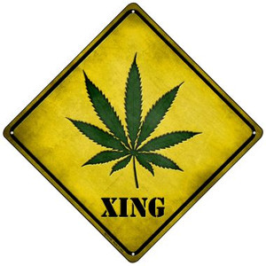 Cannabis Xing Wholesale Novelty Mini Metal Crossing Sign MCX-139