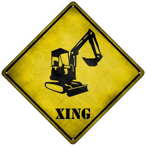 Backhoe Xing Wholesale Novelty Mini Metal Crossing Sign MCX-164