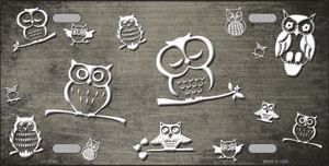 Tan White Owl Print Oil Rubbed Wholesale Metal Novelty License Plate