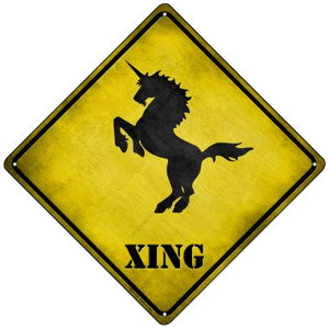 Unicorn Rearing Xing Wholesale Novelty Mini Metal Crossing Sign MCX-170