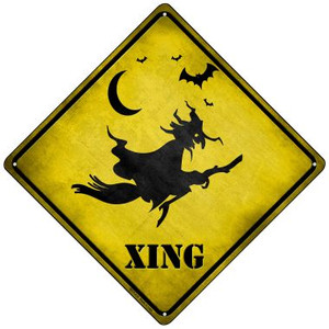 Spooky Witch Xing Wholesale Novelty Mini Metal Crossing Sign MCX-219