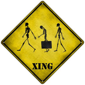 Three Walking Skeleton Xing Wholesale Novelty Mini Metal Crossing Sign MCX-223