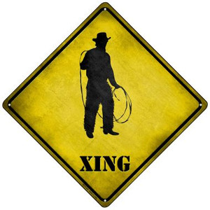 Cowboy With Lasso Xing Wholesale Novelty Mini Metal Crossing Sign MCX-264