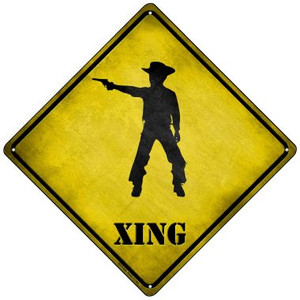 Cowboy With Pistol Xing Wholesale Novelty Mini Metal Crossing Sign MCX-265