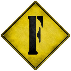 Letter F Xing Wholesale Novelty Mini Metal Crossing Sign MCX-271