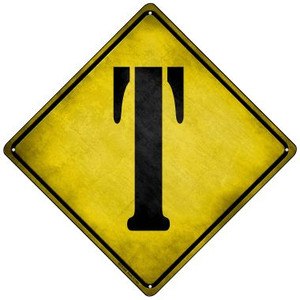 Letter T Xing Wholesale Novelty Mini Metal Crossing Sign MCX-285