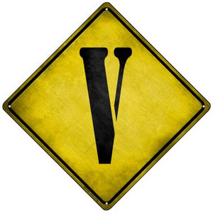 Letter V Xing Wholesale Novelty Mini Metal Crossing Sign MCX-287