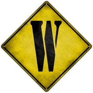 Letter W Xing Wholesale Novelty Mini Metal Crossing Sign MCX-288