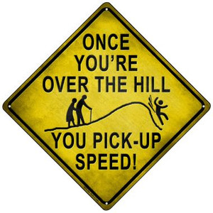 Over The Hill Xing Wholesale Novelty Mini Metal Crossing Sign MCX-308