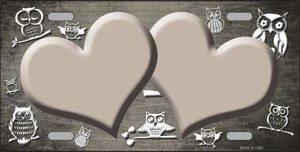 Tan White Owl Hearts Oil Rubbed Wholesale Metal Novelty License Plate