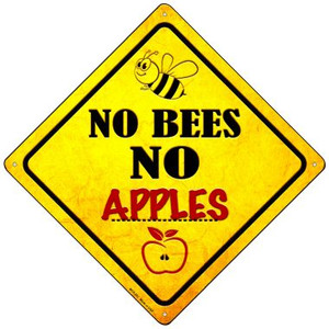 No Bees No Apples Wholesale Novelty Mini Metal Crossing Sign MCX-323