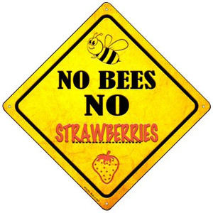 No Bees No Strawberries Wholesale Novelty Mini Metal Crossing Sign MCX-335