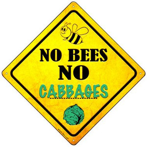 No Bees No Cabbages Wholesale Novelty Mini Metal Crossing Sign MCX-341