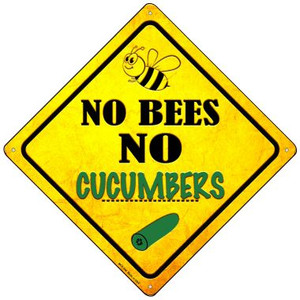 No Bees No Cucumbers Wholesale Novelty Mini Metal Crossing Sign MCX-346
