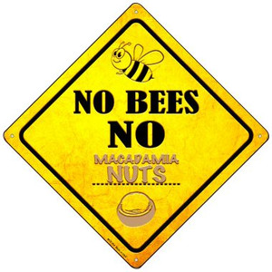 No Bees No Macadamia Nuts Wholesale Novelty Mini Metal Crossing Sign MCX-354