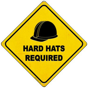Hard Hats Required Wholesale Novelty Mini Metal Crossing Sign MCX-369