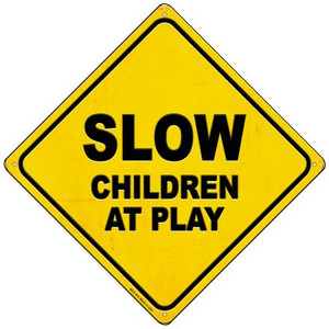 Slow Children at Play Wholesale Novelty Mini Metal Crossing Sign MCX-370