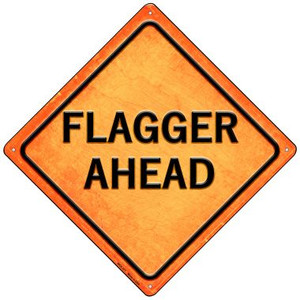 Flagger Ahead Wholesale Novelty Mini Metal Crossing Sign MCX-377