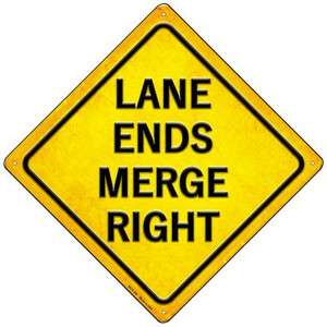 Ends Merge Right Wholesale Novelty Mini Metal Crossing Sign