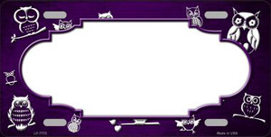 Purple White Owl Scallop Oil Rubbed Wholesale Metal Novelty License Plate