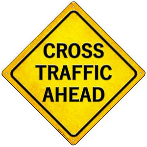 Cross Traffic Ahead Wholesale Novelty Mini Metal Crossing Sign MCX-432