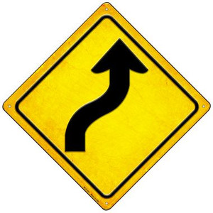 Curve Right Wholesale Novelty Mini Metal Crossing Sign MCX-454