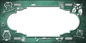Mint White Owl Scallop Oil Rubbed Wholesale Metal Novelty License Plate