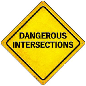 Dangerous Intersections Wholesale Novelty Mini Metal Crossing Sign MCX-579