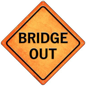 Bridge Out Wholesale Novelty Mini Metal Crossing Sign MCX-585