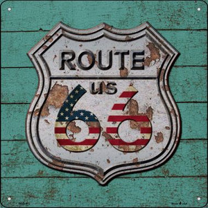 Route 66 Vintage On Wood Wholesale Novelty Mini Metal Square MSQ-072