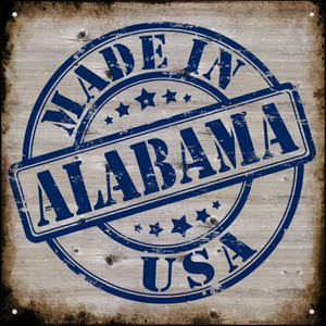 Alabama Stamp On Wood Wholesale Novelty Mini Metal Square MSQ-106