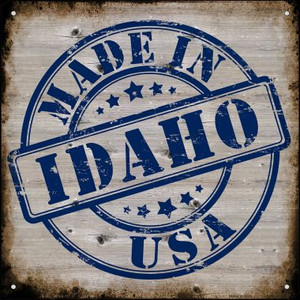 Idaho Stamp On Wood Wholesale Novelty Mini Metal Square MSQ-117