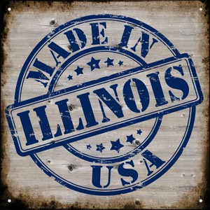 Illinois Stamp On Wood Wholesale Novelty Mini Metal Square MSQ-118