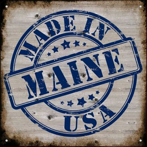 Maine Stamp On Wood Wholesale Novelty Mini Metal Square MSQ-124