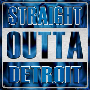 Straight Outta Detroit Wholesale Novelty Mini Metal Square MSQ-181